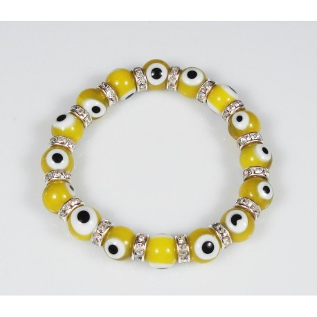 "Fräckt Armband Turkisk ""Lucky Eye"" Gul"