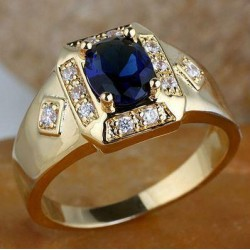Goldfilled, 18K Guldfylld Ring med Blå Safir, 22,2mm